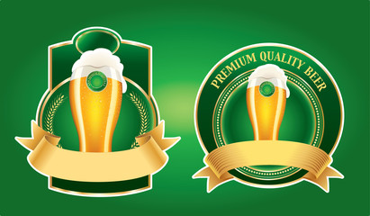 set of beer label on green background