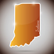 vintage sticker in form of Indiana state, USA