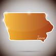 vintage sticker in form of Iowa state, USA