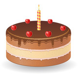 chocolate cake with cherries and burning candle vector illustrat