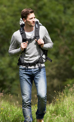 Man Hiking In Countryside
