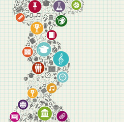 Education back to school colorful icons.