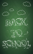 Education back to school text green chalkboard.