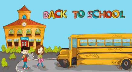 Colorful back to school education cartoon.