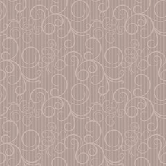 Beige seamless pattern with swirls and thin strips