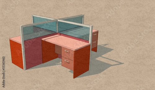 Four Office Table Set Sketch Design