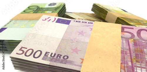 Euro Notes Bundles Stack Extreme Closeup