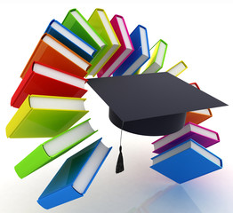 Colorful books like the rainbow and graduation hat