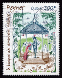 Postage stamp France 2000 The Lovers' Kiosk, by Raymond Peynet