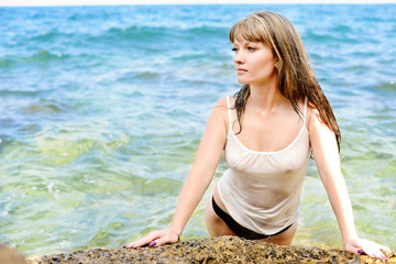 sensual woman in sea