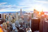 Aerial view of Manhattan skyline at sunset, New York City - 55366270