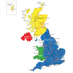 England,Scotland,Wales and North Ireland map