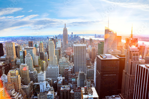 Foto op Canvas New York Aerial view of Manhattan skyline at sunset, New York City