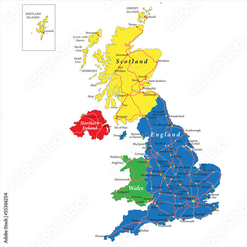 Plakát, Obraz England,Scotland,Wales and North Ireland map