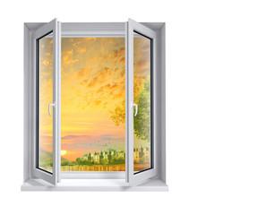 Il tramonto dalla finestra