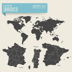 worldmap and detailed maps of France, Portugal and Spain