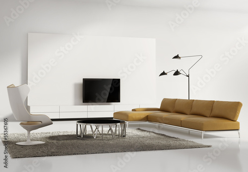 Contemporary tv wall furniture, minimal white living room