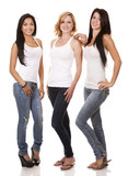 three casual women