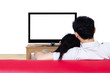 Couple watching blank tv on white