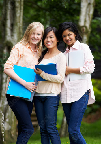 Group Of Female Teenage Students Outdoors