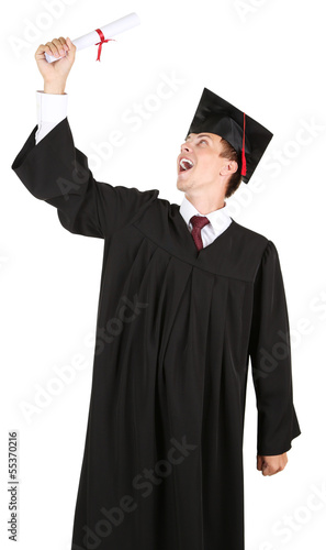 Happy graduating student isolated on white