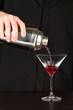 Bartender making cocktail on close-up