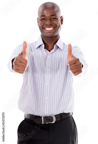 Happy business man with thumbs up