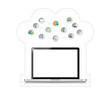 laptop cloud computing tools illustration tools