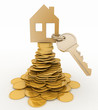 3d house symbol with key on Pile of gold coins.