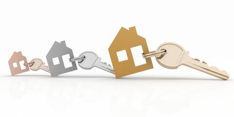 3d model house symbol set with keys