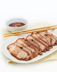 Chinese roasted red pork with  gravy sauce.