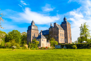Beautiful summer view of the castle in Germany. schloss myllendo