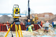 surveyor equipment theodolite at construction site