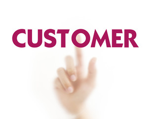 Finger pressing business word,Customer