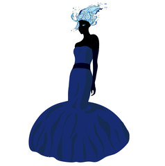 Elegant girl in fluttering blue dress