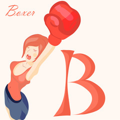 Vector beautiful girl in boxing gloves. alphabet, abc.