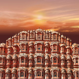pink sunset over pink city. Jaipur. India