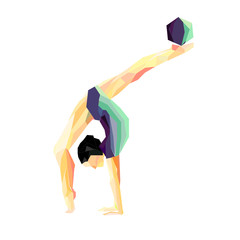 girl gymnast does exercises with the ball