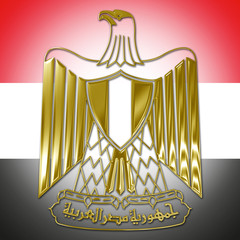 egypt coat of arm with flag