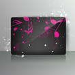 Card with abstract background with music notes