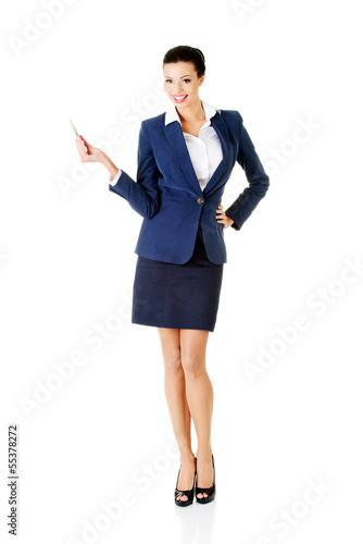 Businesswoman with big conceptual car keys