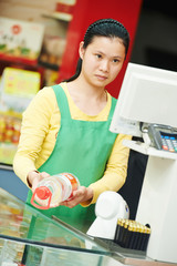 chinese woman shop worker