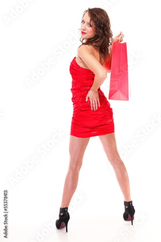 young elegant woman with shopping bag