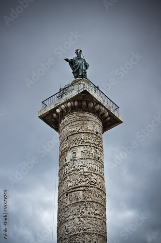Antique column of the emperor Trajan in Rome
