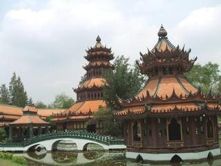 pagoda & bridge,Samut Prakan,bangkok,thailand