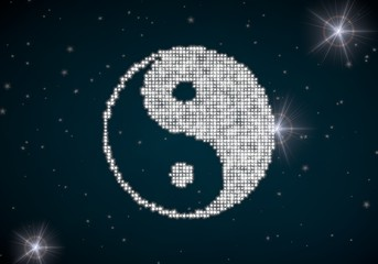 Illustration of a lucky jackpot symbol glittering on night sky