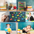 Collage of schoolchildren and teacher in classroom. School