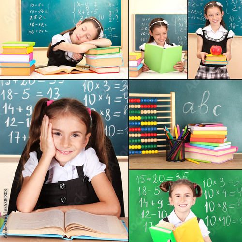 Collage of schoolchildren in classroom. School concept
