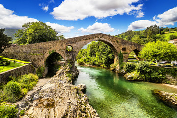 Old Roman stone bridge in Cangas de Onis (Asturias), Spain