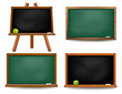 Set of school board blackboards. Back to school. Vector illustra